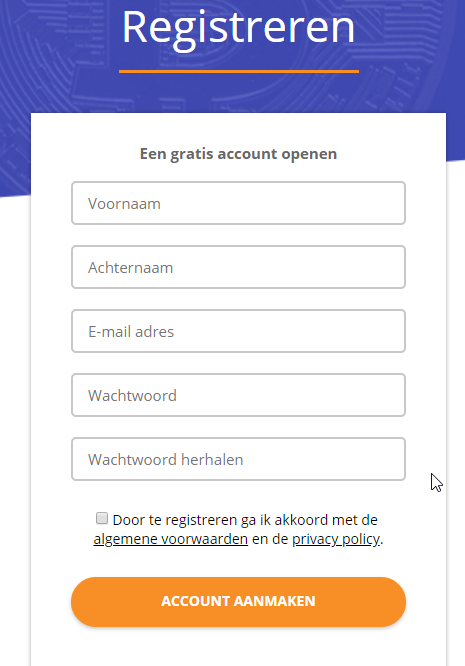 Registreren bij Bitcoinmeester